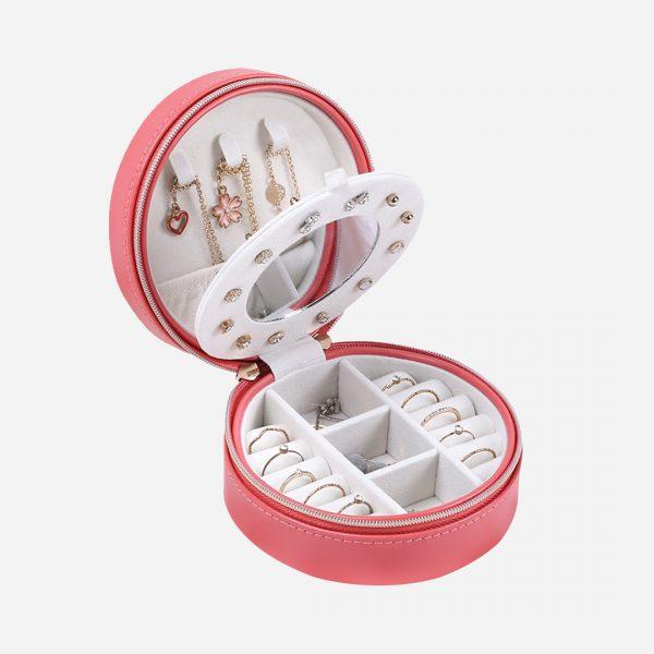 صندوق مجوهرات دائري صغير للسفر